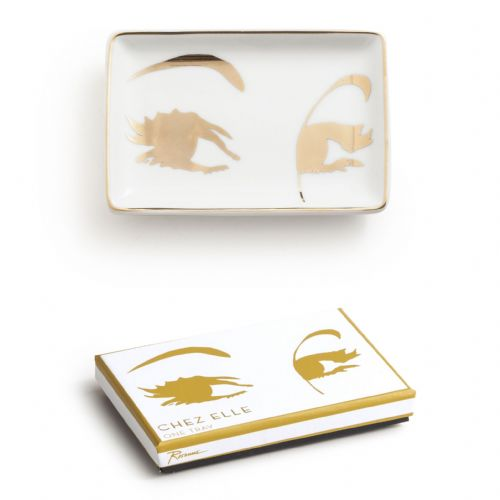 Rosanna Ladies Trinket Tray - Chez Elle White & Gold Eyelashes Design Ceramic Tray